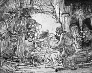 Adoration Of The Shepherds; Shepherd; Infant Jesus Christ; Baby; Child; Joseph; Virgin Mary; Madonna; Holy Family; Stable; Manger; Ox; Oxen; Straw Posters - Nativity Poster by Rembrandt