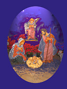 Tarjetas Framed Prints - Nativity Scene in oval Framed Print by Estela Robles