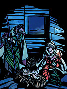 Christmas Scene Prints - Nativity Stained Glass Print by Methune Hively