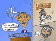 Obama Mixed Media - NATO agrees with Taliban caricature by OptionsClick BlogArt