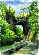 Bridge Painting Originals - Natural Bridge Virgina by John D Benson