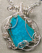 Silver Turquoise Jewelry - Natural Kingman Turquoise Slice and Silver Scribble Pendant by Heather Jordan