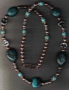 Fetishes Jewelry - Natural Turquoise Sun-Moon  by White Buffalo