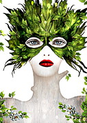 Young Mixed Media Metal Prints - Natural Women Metal Print by Yosi Cupano