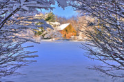 Snow Scene Photos - Natural Wreath-Winter Barn scene by Thomas Schoeller