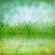 Grungy Prints - Nature And Grass On Paper Print by Setsiri Silapasuwanchai