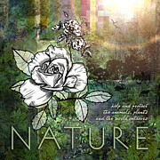 White Digital Art Prints - Nature Print by Evie Cook