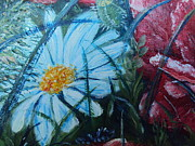 Impressionistic  On Canvas Paintings - Nature Landscape Flowers Daisies and Poppies  by Drinka Mercep