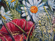 Impressionistic  On Canvas Paintings - Nature Landscape Flowers Poppies and Daisies No.3 by Drinka Mercep