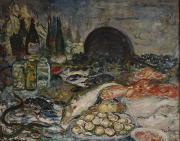 Shellfish Prints - Nature Morte  Print by Bernhard Dorotheus Folkestad
