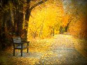 Golden Leaves.beauty Prints - Natures Golden Corridor Print by Tara Turner