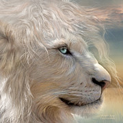 White Lion Posters - Natures King Portrait Poster by Carol Cavalaris