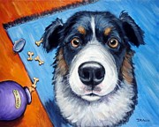 Cookie Prints - Naughty Australian Shepherd Print by Dottie Dracos