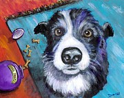 Dog Artist Painting Prints - Naughty Border Collie Print by Dottie Dracos