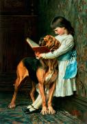 Bloodhound Acrylic Prints - Naughty Boy or Compulsory Education Acrylic Print by Briton Riviere