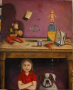 Humor Painting Prints - Naughty Child Print by Leah Saulnier The Painting Maniac
