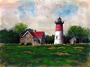 Cape Cod Lighthouse Paintings - Nauset Light  by John Countway