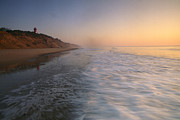 Beach Sunsets Posters - Nauset Light On The Shoreline Of Nauset Poster by Michael Melford
