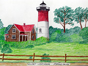 New England Lighthouse Mixed Media Prints - Nauset Lighthouse Drawing Print by Frederic Kohli