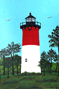 Cape Cod Lighthouse Paintings - Nauset Lighthouse Tower Painting by Frederic Kohli