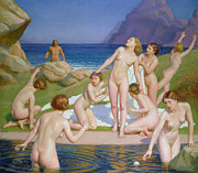 Swimming Framed Prints - Nausicaa Framed Print by William McGregor Paxton