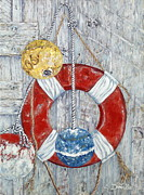 Fenders Painting Originals - Nautical Treasures by Danielle  Perry