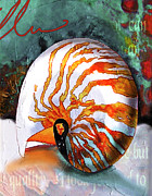 Seashell Digital Art Painting Posters - Nautilus Poster by Ellen Mcgaughey