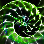 Nautilus Digital Art - Nautilus Shell Ying and Yang - Electric - v1 - Green by Wingsdomain Art and Photography
