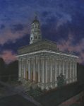 Church Painting Originals - Nauvoo Sunset by Jeff Brimley