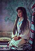 Beautiful Woman Painting Posters - Navajo Beauty Poster by Jean Hildebrant