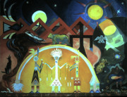 Spider Rock Art Posters - Navajo Gods Dance the Creation of the World Poster by Willoughby  Senior