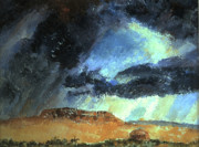 Storm Clouds Paintings - Navajo Landscape with Rider and Hogan by Willoughby  Senior