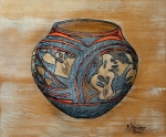Decorative Pyrography Prints - Navajo Pot Print by Mike Holder