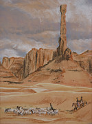 Formation Pastels Prints - Navajo Shepherds Beneath the Totem Rock Print by Kathryn Yoder