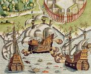 Galleons Prints - Naval Battle between the Portuguese and French in the Seas off the Potiguaran Territories Print by Theodore de Bry