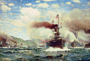 Blue Sailboat Posters - Naval Battle Explosion Poster by James Gale Tyler