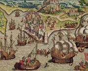 Towns Drawings - Naval Combat by Theodore de Bry