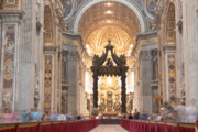 Bernini Photos - Nave Baldachin Cathedra and People by Fabrizio Ruggeri