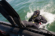 Sweep Image Art - Navy Diver Dives Into San Diego Bay by Stocktrek Images