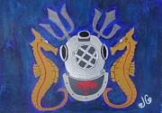 Scuba Paintings - Navy Diver  by Jessica Cruz