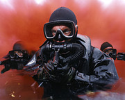 Head Above Water Posters - Navy Divers On A Training Poster by Andrew Chittock