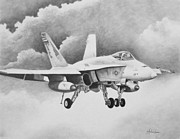 Marines Drawings Prints - Navy Hornet Print by Stephen Roberson