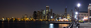 Sky Line Art - Navy Pier and Downtown Skyline by Twenty Two North Gallery