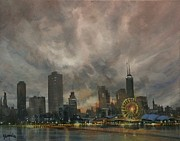 Skylines Paintings - Navy Pier Ferris Wheel Chicago by Tom Shropshire