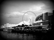 Chicago Black White Digital Art Posters - Navy Pier Poster by Rayniedaze Photography