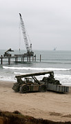 Beachhead Framed Prints - Navy Seabees Dismantling An Elevated Framed Print by Michael Wood