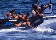 Inflatable Photo Framed Prints - Navy Seals Practice High Speed Boat Framed Print by Michael Wood