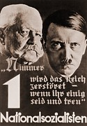 Nationalism Framed Prints - Nazi Poster With Images Of Adolf Hitler Framed Print by Everett