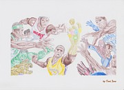 Lebron James Drawings - NBA Superheroes  by Toni Jaso