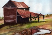 Old Barn Paintings - NC Barn by Mary Lomma